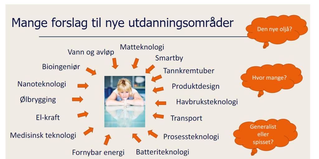 Fra UiS sin presentasjon om mulige nye studier.
